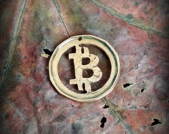 Bitcoin symbol  All Handmade eco - mined BTC Pendant necklace coin cut charm