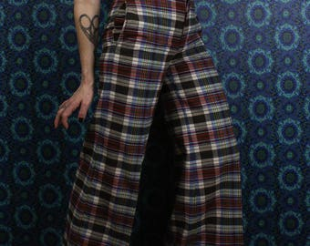 70's Plaid Bell Bottom Wool Pants, High Waisted Wide Leg, Size Extra Small
