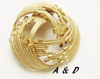 Vintage Amerikaner A & D Brooch / Rolled Gold Plate / Designer Signed / Jewelry / Jewellery