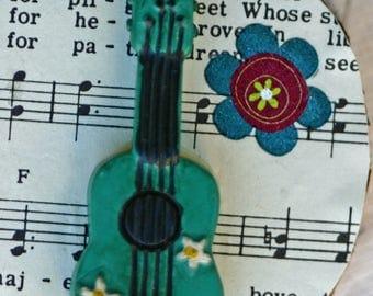 Wood slice ornament, Guitar Christmas ornament, birch slice, tree slice, art on wood slice, music, musical score, hippy, green, instrument