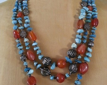 Triple Strand Turquoise, Amber and Silver Necklace