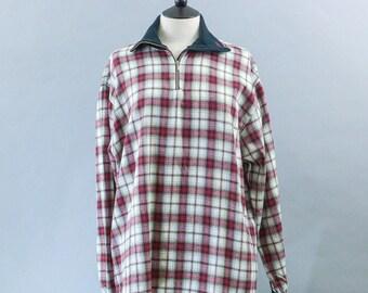 Vintage Maser Red Brown Cotton Flannel Shirt Top Grunge Indie Medium UK 12