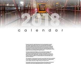 Calendar, 2018, nyc, night, home made, colorful, atmospheric, unique, craftsmanship, brooklyn, queens, manhattan, cool, noir, cityscape, wow