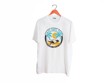 vintage t shirt / Palm Springs shirt / palm trees shirt / 1980s Palm Springs Lazy Boys Club t shirt Large