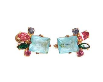 Vintage Aqua Blue Earrings Art Glass Screw Back Multi Color Crystals Jewelry Rhinestones Gold Tone Prong Set
