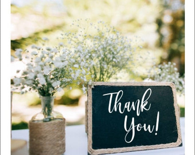 Thank You Decal Vinyl Decal for Wedding Photo Prop Rustic Wedding Decor Handwritten Vinyl DIY Lettering for Chalkboard or Sign