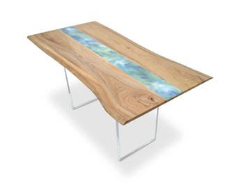 Resin Art Table - Natural Live edge wood slab dining or conference table