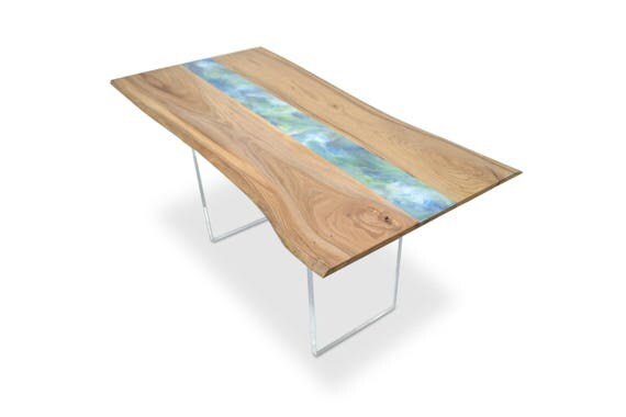 Resin Art Table Natural Live Edge Wood Slab Dining Or