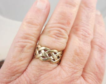 Vintage Sterling Silver Wide Open Weave Band Ring