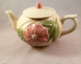 Wild Rose and Antique White Ceramic Teapot