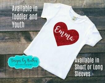 Valentine's Shirt - Toddler and Youth - Personalized T-Shirt - Personalized Tshirt with heart - Kid's Valentine Shirt - Glitter Tshirt