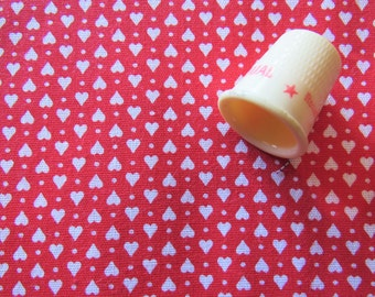 tiny white hearts and dots on red print vintage cotton fabric -- 34 inches by 2/3 yard