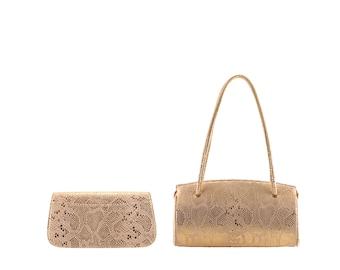 Leather top handles LILO, GILA // gold, python effect (Italian calf skin) - FREE shipping, unique bag