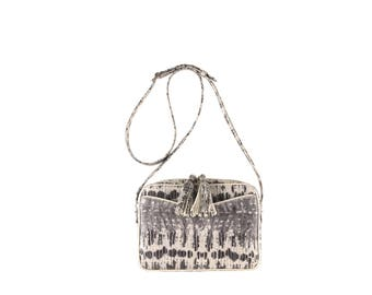 Leather women crossbody MARA // beige gray grey, lizard effect (Italian calf skin) - FREE shipping, unique