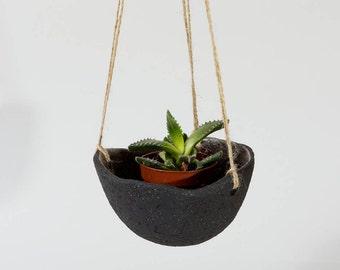 Black Ceramic Planter Ceramic Hanging Planter ~ Hanging Planter Indoor ~ Black Ceramics Plant Pot Ceramic Plant Pots Modern Planter ~ Pots