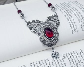 Gothic Red Necklace, Red Jewel Necklace, Red Wedding Jewelry, Red Bridal Necklace, Gothic Jewelry, Gothic Necklace, Medieval Necklace