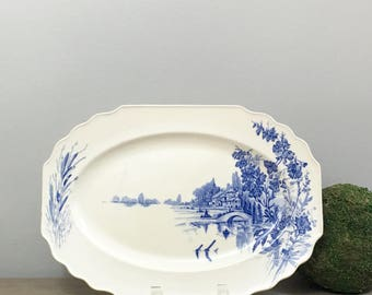 Antique English Blue Transferware Serving Platter Tray 1920s Earthenware China Myott and Son English Modern Farmhouse Decor