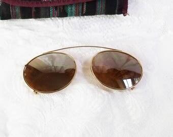 Vintage Clip On Aviator Sunglasses- Men's Sunglasses- Gold/ Amber Brown - Mirrored