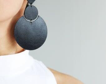 Large black leather earrings- minimalist large geometric earrings- black statement earrings- chunky drop earrings- minimal black earrings