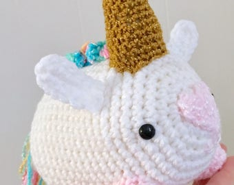 READY TO SHIP Stuffed Unicorn - Amigurumi, Toy, Plush