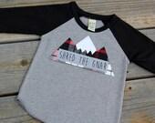 Kids Shred the Gnar Raglan, Shred The Gnar, Buffalo Check Mountain, Mountain Shirt, Colorado Baby, Snowboard Baby, Ski Baby