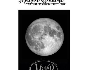 Full Moon Craters Photo, Moon Phases Photography, Silver Full Moon, Black and white moon, Super Moon in a Dark Night Sky