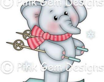 Digi Stamp  'Skiing Ella'  - Christmas. Baby's First Christmas Cards etc