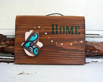Ceramic Hamsa On Wood, Entryway Wall Decor, Handmade Pottery Hamsa on Recycled Wood, Housewarming Gift, Ready to Ship.Charm,