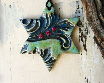 Star of David Wall Hanging, Handmade Pottery Magen David Home Decor, Ceramic Star of David, Ready to Ship.