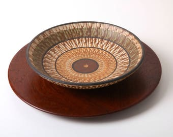Vintage Dumler Breiden Terra bowl - West German pottery 1950s - Fat Lava Eames era - mid century modernist pottery - retro home decor