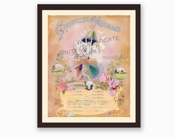 Custom Marriage Certificate - Family Wedding - Marriage Certificates - Gatsby Era Style