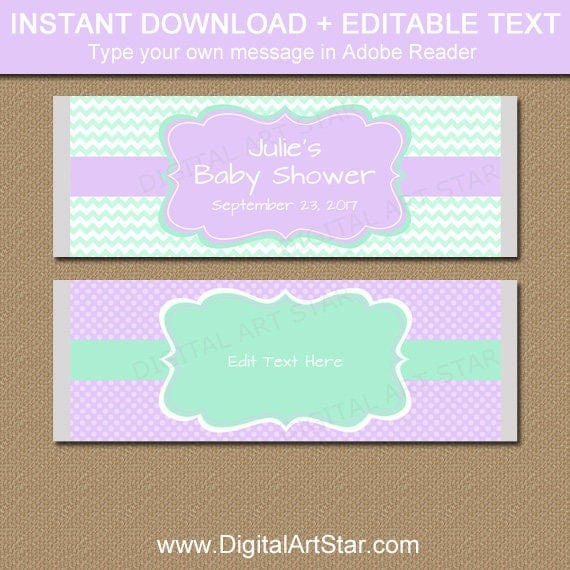 Lavender And Mint Candy Bar Wrappers Baby Shower Favors Girl Baby