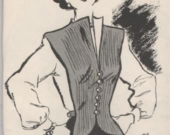 "1940's Marian Martin Vest Pattern - Bust 34""-36"" - From Marian Martin Catalogue Fall/Winter of '49"
