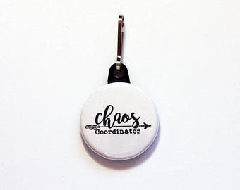 Funny zipper pull, Chaos Coordinator charm, backpack zipper pull, zipper pull, purse charm, bag charm, backpack charm, Humor (7829)