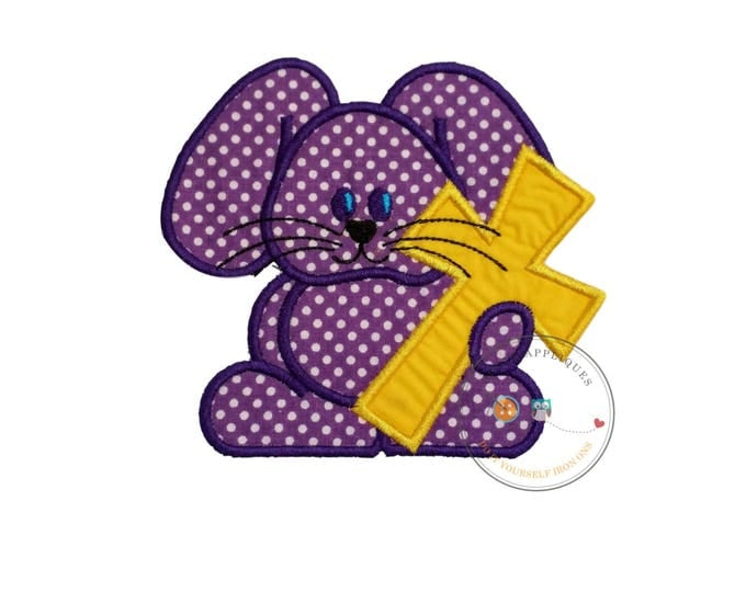 Purple Easter bunny with yellow cross iron on applique