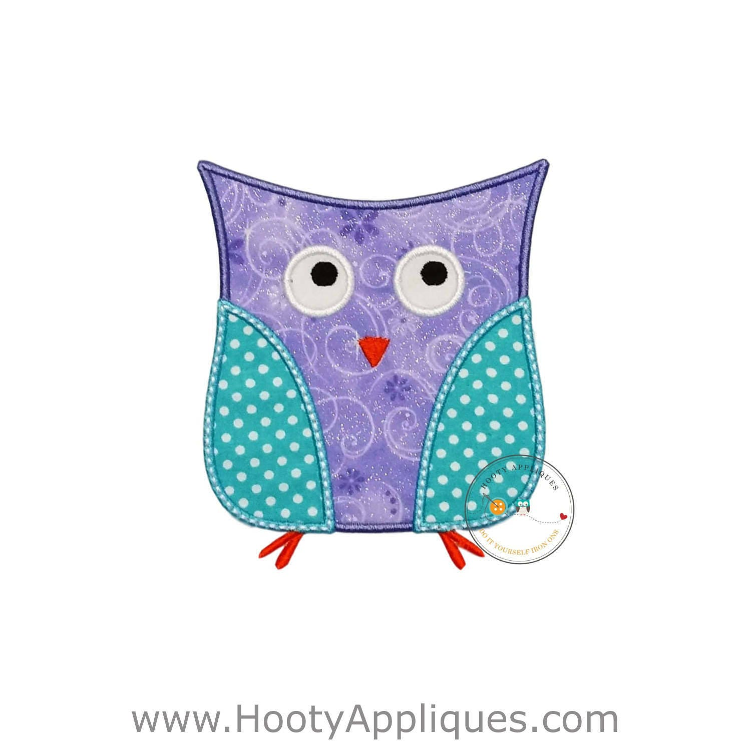Lavender and aque owl iron on patch soft purple and blue for Owl fish clothing