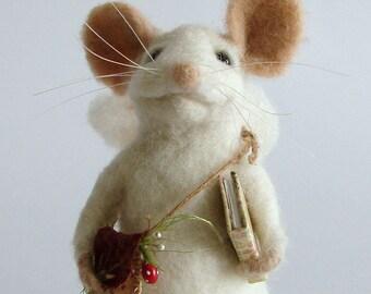 Felted Rat Needle Felted Fairy Rat  Wool Mouse Needle felte White mouse