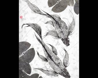 Pair of Japanese Butterfly Koi - gyotaku giclee print - traditional Japanese fish art
