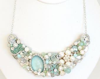 Mint Green Necklace- Mint Bib Necklace- Bridal Necklace- Statement Necklace- Mint Wedding Necklace- Mint Statement Bib- Mint Bridal Necklace