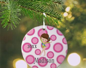 Personalized Kids Ornament - Gymnastic Girl Pink Grey Polka Dot Green Suit, Children Christmas Ceramic Circle Heart Snowflake Star