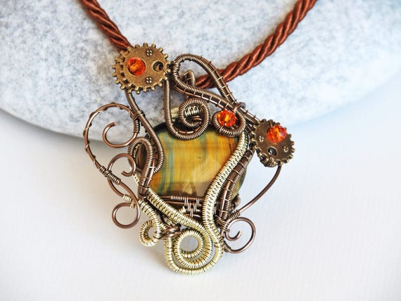 Steampunk wire wrapped necklace pendant Heady wire wrap jewelry Antique Gemstone Dainty Casual Everyday love gift for women Tiger Eye heart