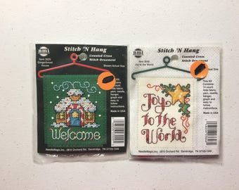 "Joy to the World & Gingerbread House Counted Cross Stitch Kits, Stitch ""N Hang Mini Kits by Needle Magic"