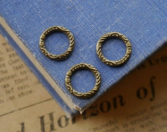 20 Closed Detailed Bronze Jump Rings 14mm Heavy Duty (BF3008)
