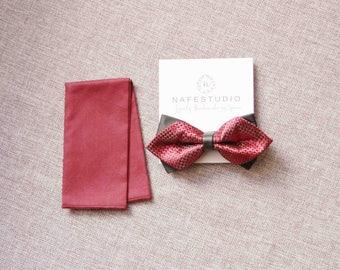 Men's Bow Tie Pre-tied Bow Tie For Men - Handmade Mens Gift - Imperial Red & Black Bow Tie - Wedding Men Boys Wine Rusty Red Black Checks