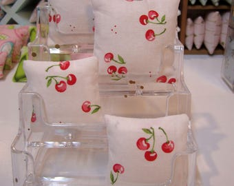 1:6TH Scale (Large) Miniature Pillow in Cute Kawaii Cherries print for Barbie, Blythe, etc.