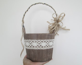 Flower Girl Basket Rustic Wedding Bucket Lace Burlap Flower