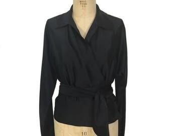 vintage 1990's RALPH LAUREN silk blouse / black / silk charmeuse / wrap blouse / women's vintage blouse / tag size 10