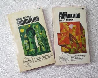 Isaac Asimov Science Fiction Pair Foundation Second Foundation Hugo Award 1960s Paperback Avon Editions Mutant Galactic Vintage Sci Fi