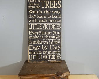 "Bob Seger quote""Take a lesson from the trees"" - from Little Vicotories - Rustic, Distressed, Hand Painted, Wooden Sign"