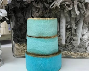 Crepe Paper Roll Party Decor Vintage Stock Easter Wedding Christmas Aqua Blue Seafoam Green Gold Gilt Marie Antoinette (Small Roll)